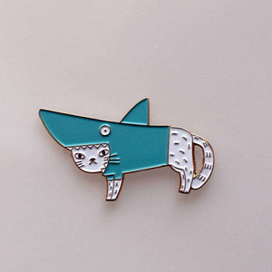 Shark Cat Pin, White by Surfing Sloth on Katt.