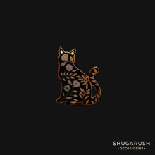 Sitting Floral Cat Pin, Glowing ears by Shugarush on Katt.