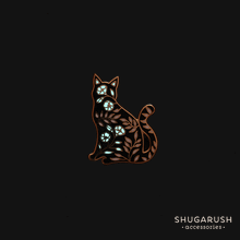 Sitting Floral Cat Pin, Glowing flowers by Shugarush on Katt.