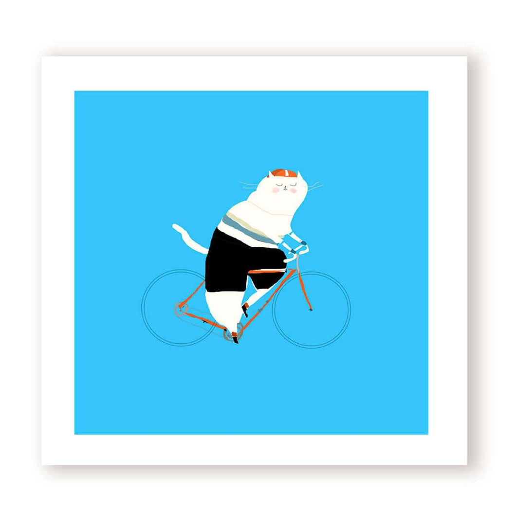 The Bike Rider Cat Print by The Dancing Cat on Katt.
