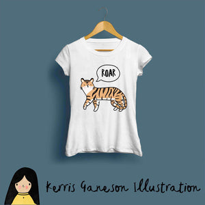 Tiger Roar Ladies T-Shirt by Kerris Ganeson on Katt.