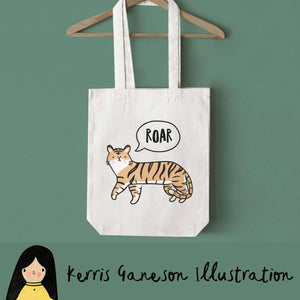 Tiger Roar Tote Bag by Kerris Ganeson on Katt.