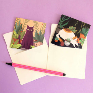 Tiny Cat Greeting Cards - Set of Two by Shugarush on Katt.
