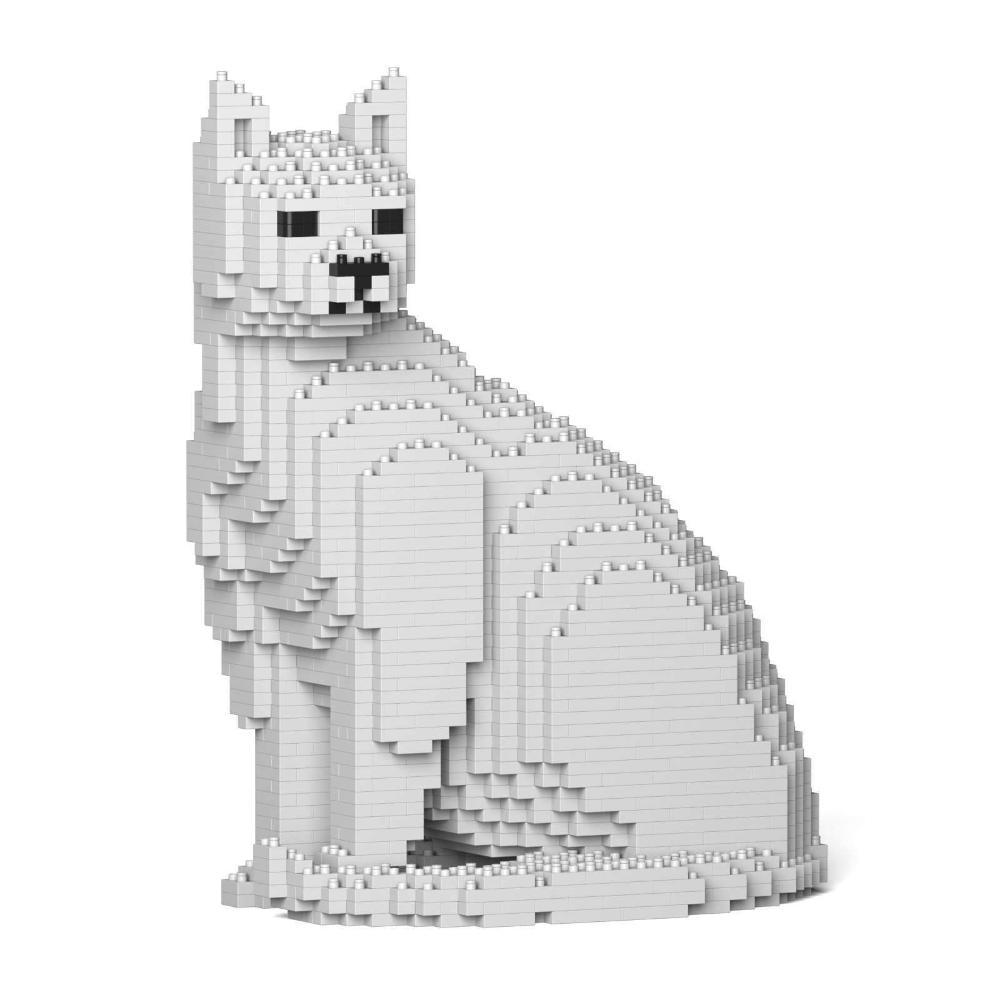 White Cat Sculpture, Sitting (27.1 x 22.5 cm / 10.7
