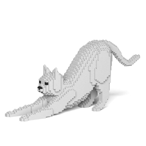 White Cat Sculpture, Stretching (20.8 x 49.9 cm / 8.2
