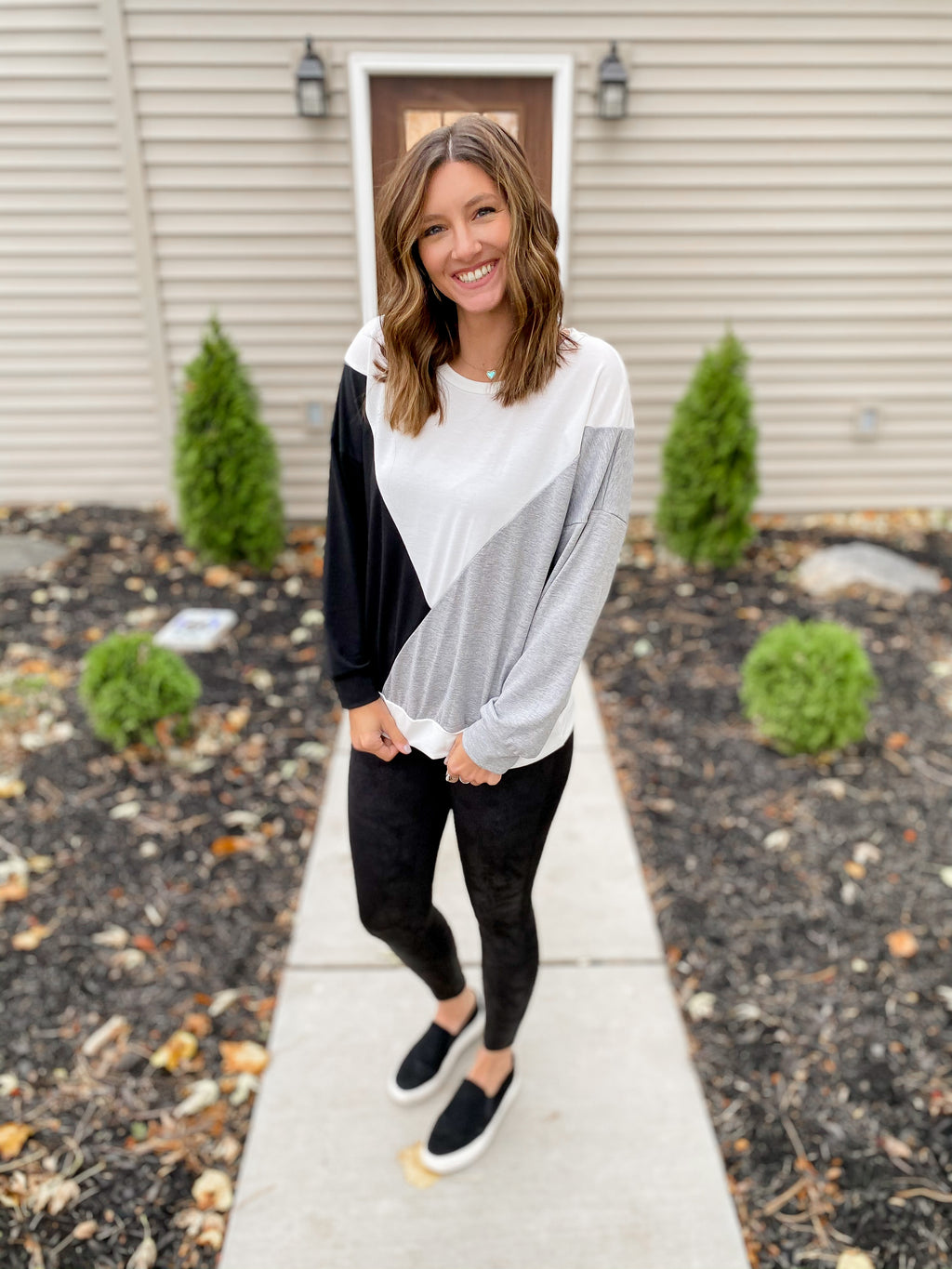 Gray Abstract Top