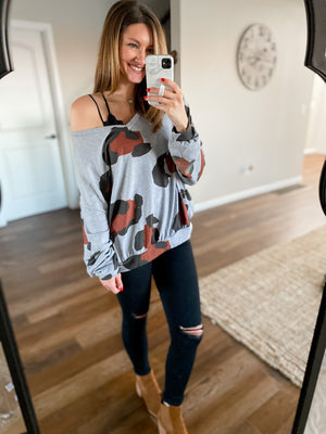 Grey Leopard V-Neck Top