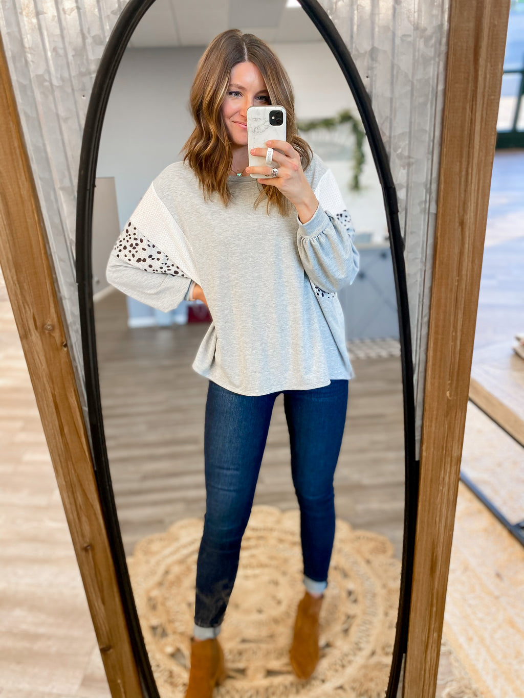 Grey Top with Dot Sleeves