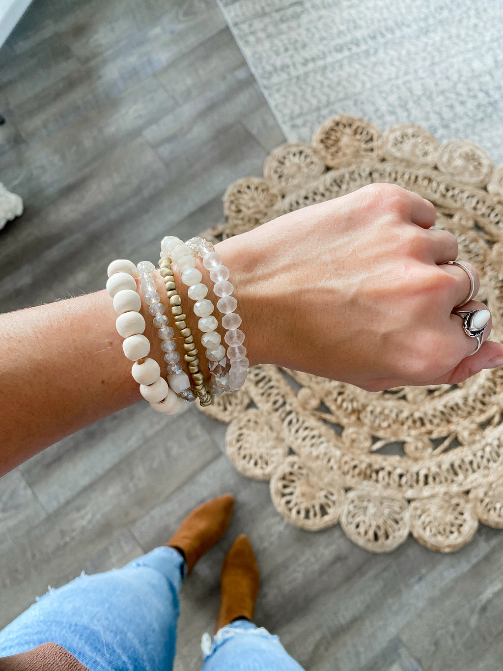 Natural + Gold Bracelet Set