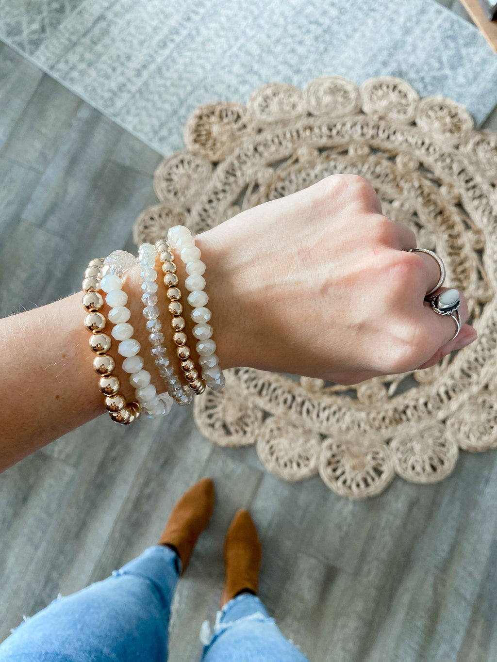 White + Rose Gold Bracelet Set