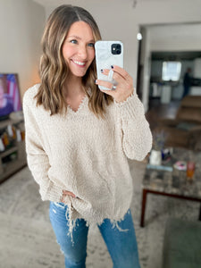 Stone Frayed Hem Sweater