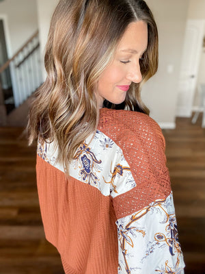 Rust Waffle Knit with Floral Sleeves