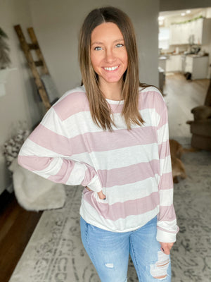 Lilac Striped Knit Top