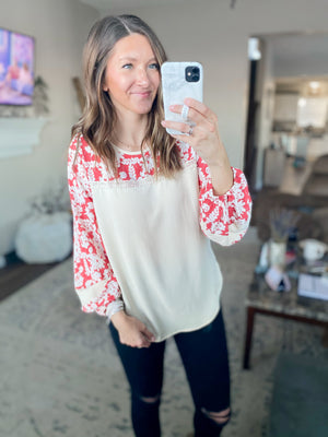 Taupe + Coral Floral Blouse