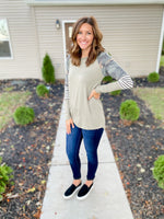Olive Top with Camo Detail - FINAL SALE