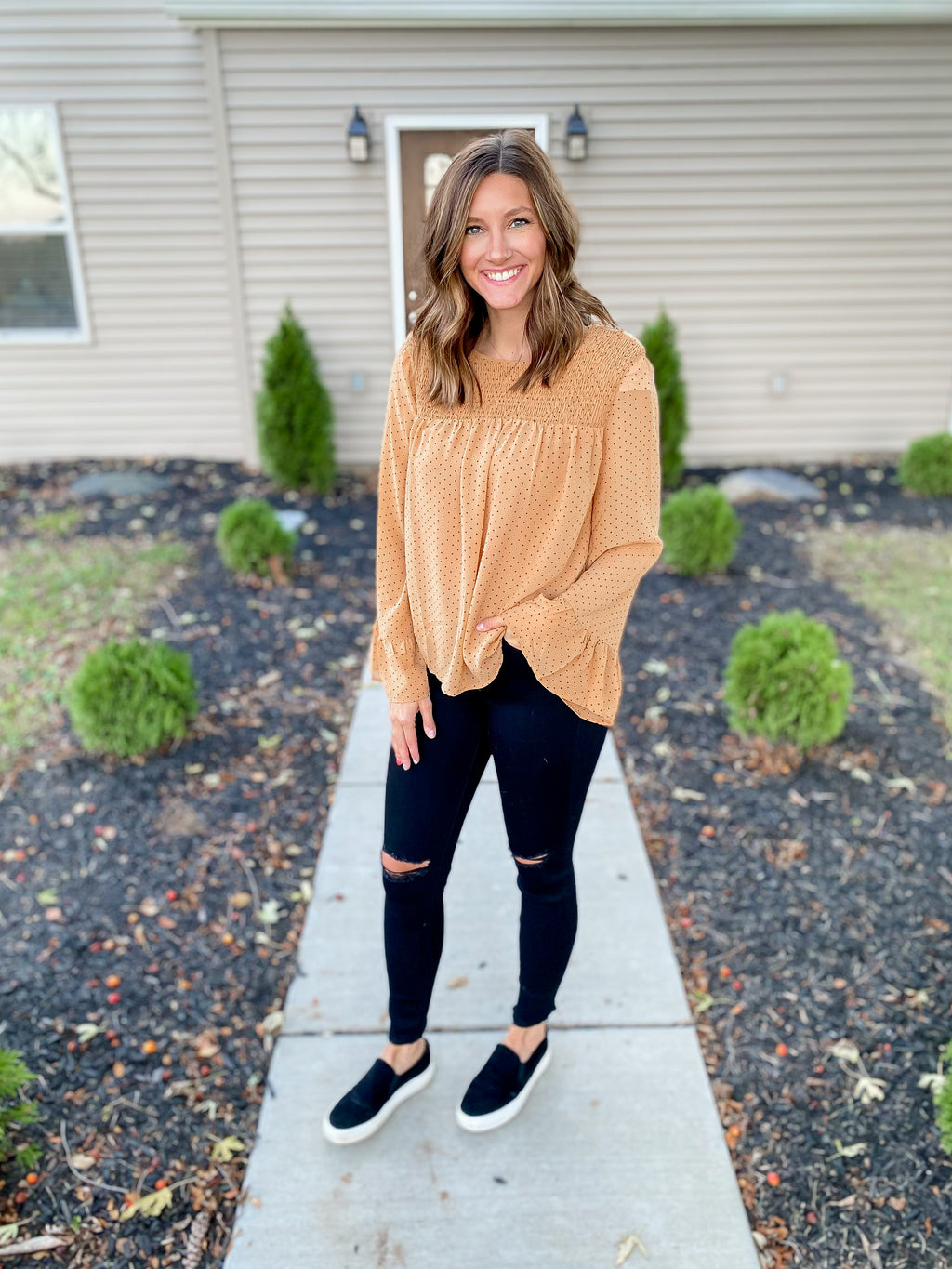 Mustard Dot Blouse