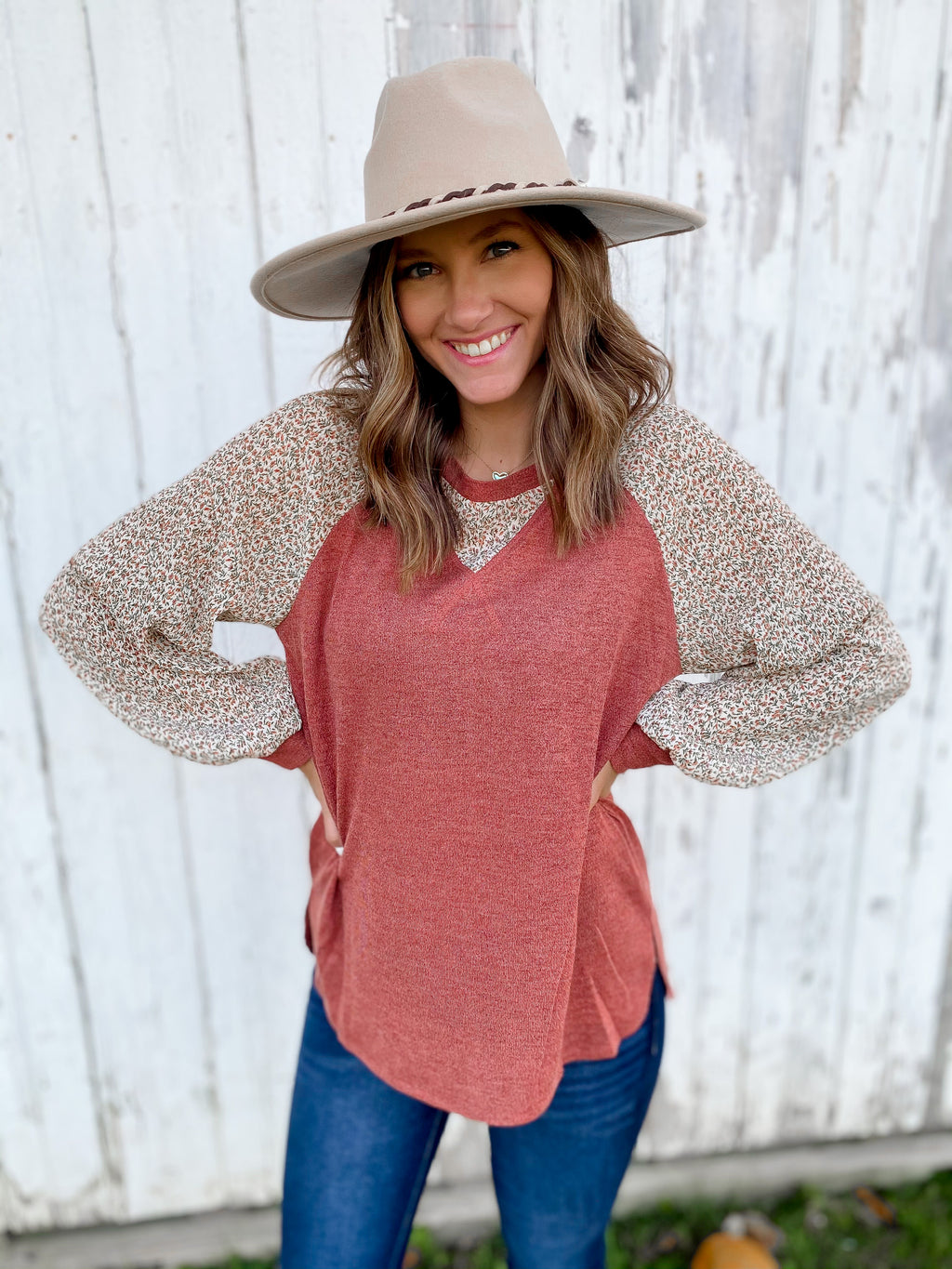 Berry Raglan Top with Floral Details