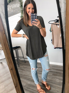 Dark Olive Basic V-Neck
