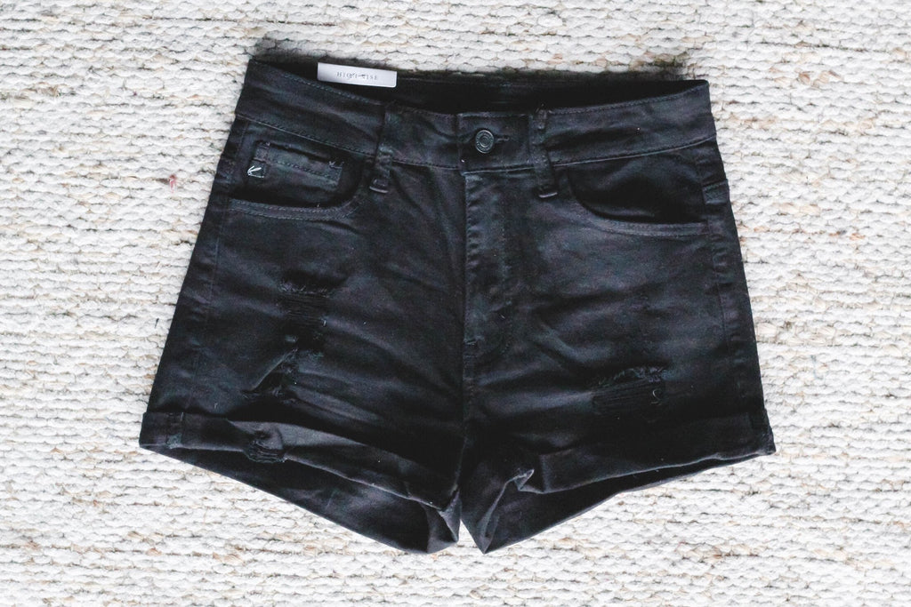 Black Distressed Shorts