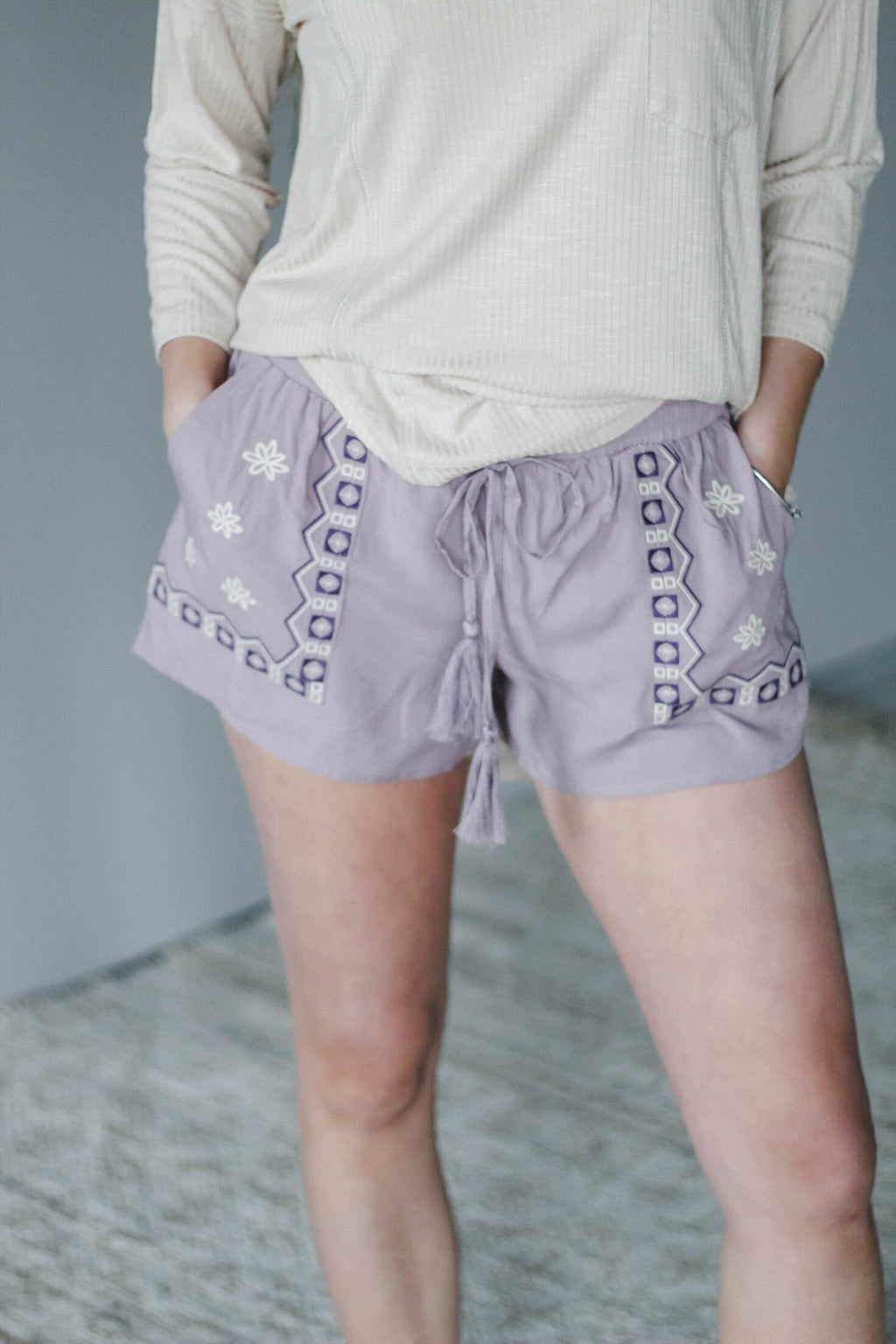 Lilac Floral Embroidered Shorts