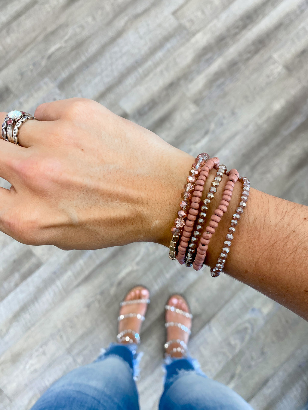 Mauve + Gold Bracelet Set