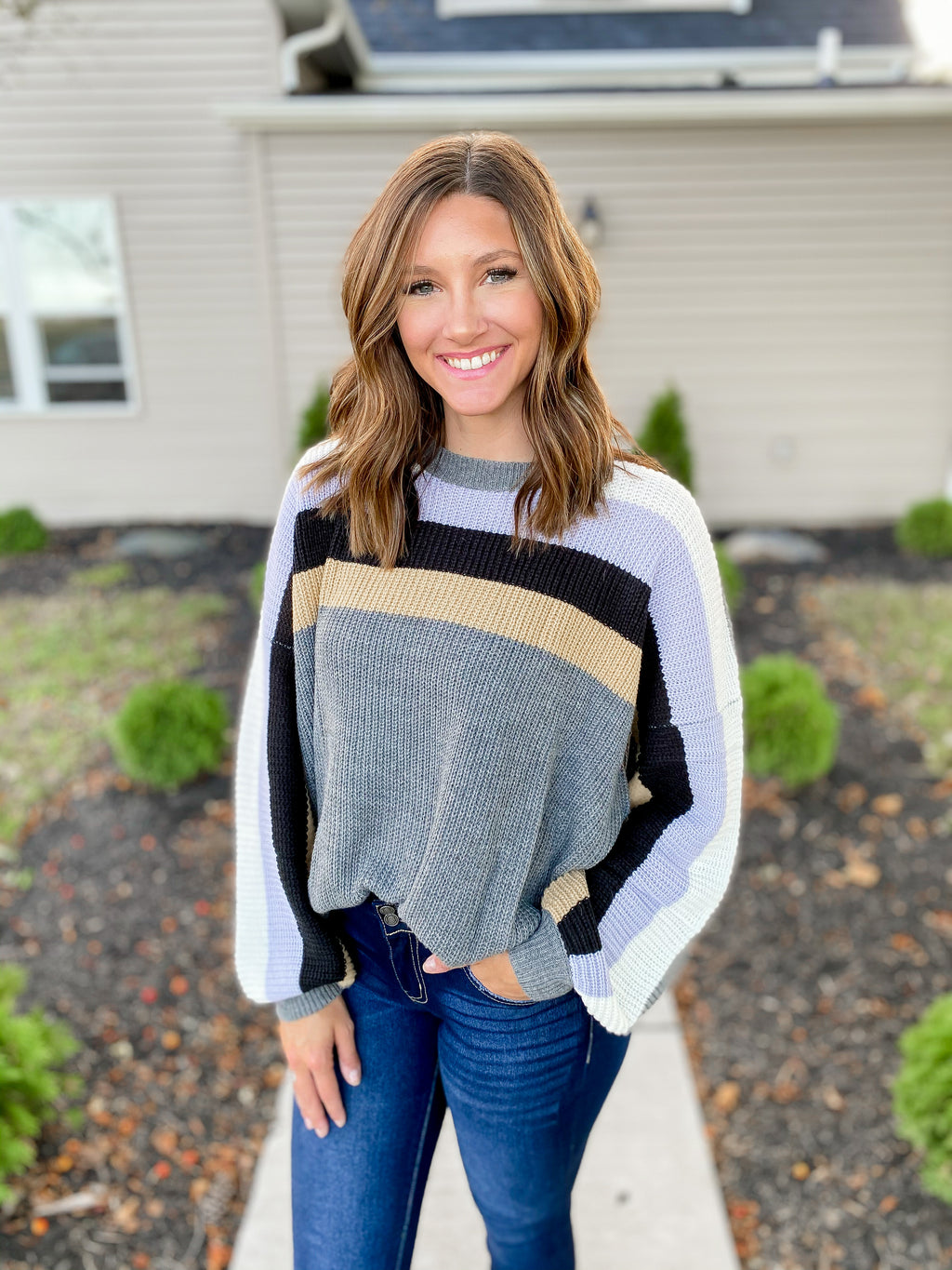 Grey Colorblock Sweater