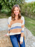 Multi Color Striped V-Neck Sweater