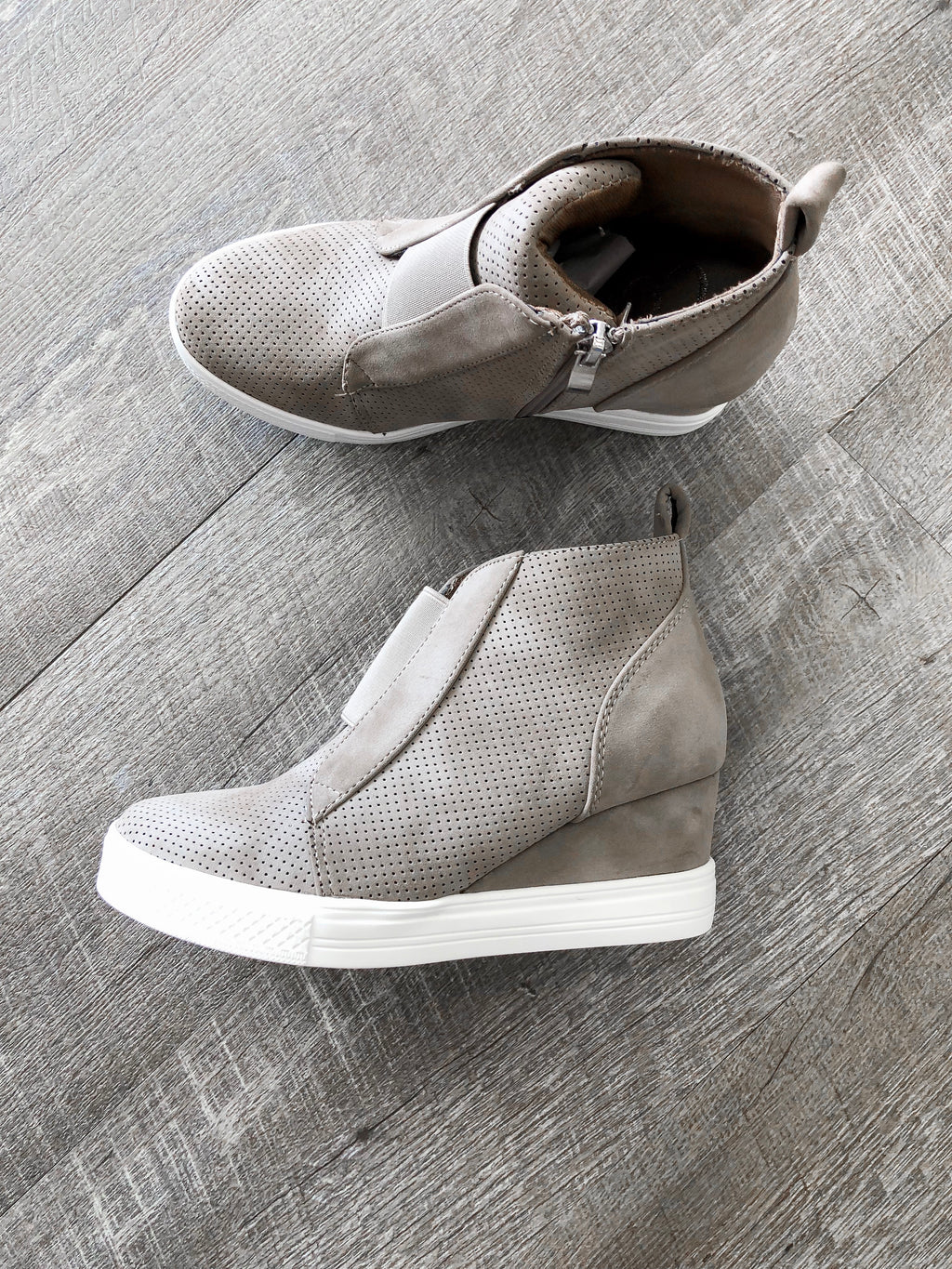 Taupe Sneaker Wedges