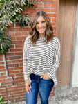 Oatmeal Striped Long Sleeve Top
