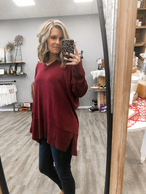 xBurgundy V-Neck Tunic