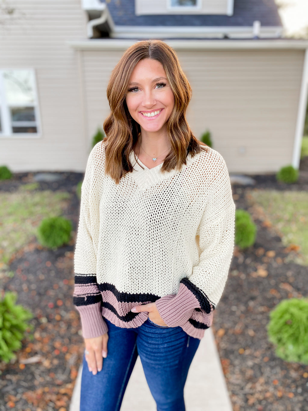 Cream Colorblock V-Neck Sweater