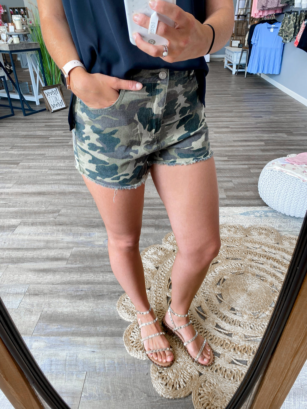 Camo Denim Shorts - FINAL SALE