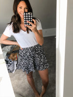 Black + White Mini Flower Skirt