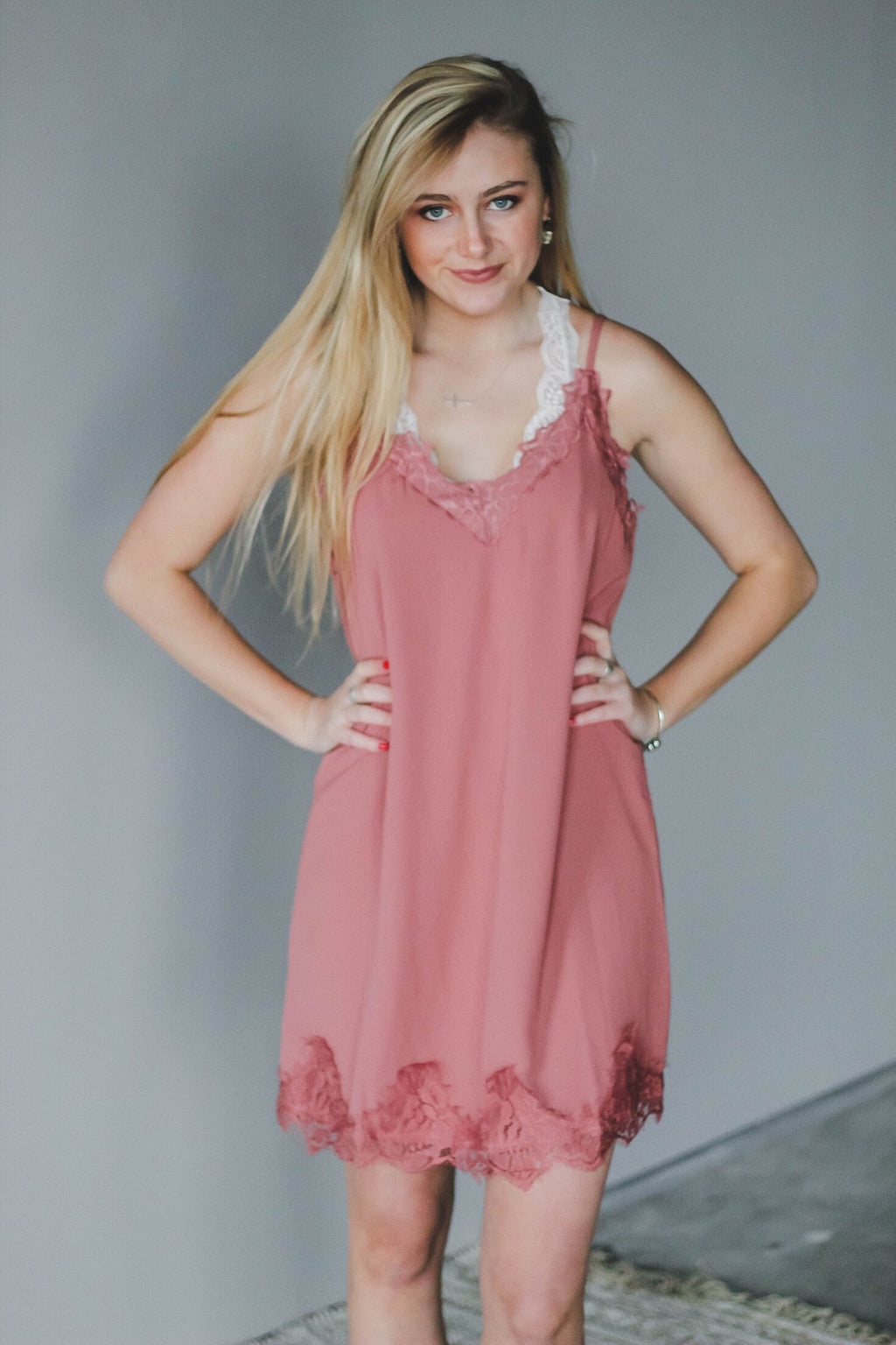 Mauve Satin Lace Dress - FINAL SALE