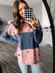 Blue + Pink Star Top