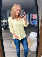 Spring Yellow Button Waffle Top