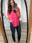 Pink Striped V-Neck