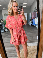 Peach Dot Romper - FINAL SALE