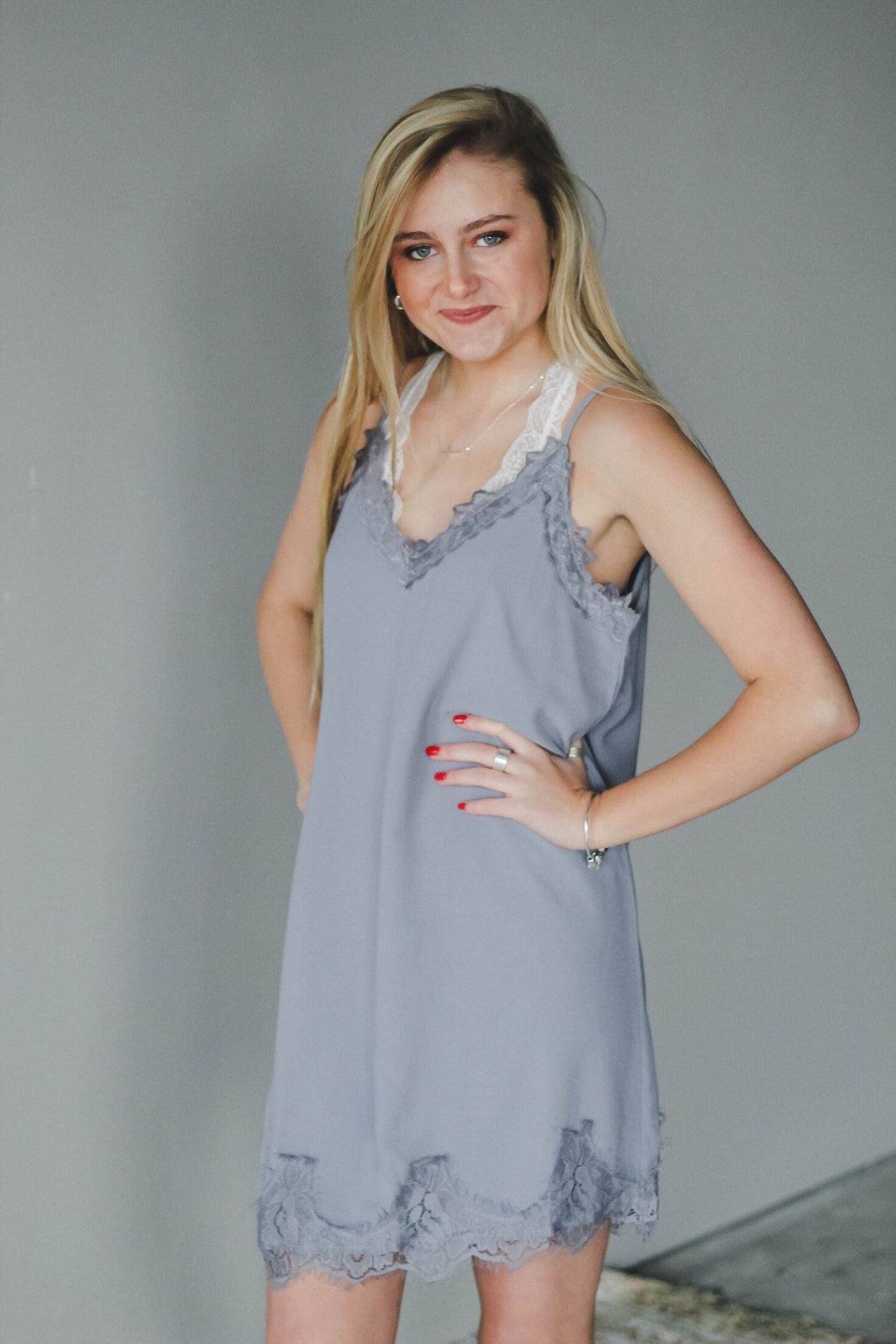 Grey Satin Lace Dress