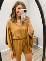 Camel Tie Waist Romper - FINAL SALE
