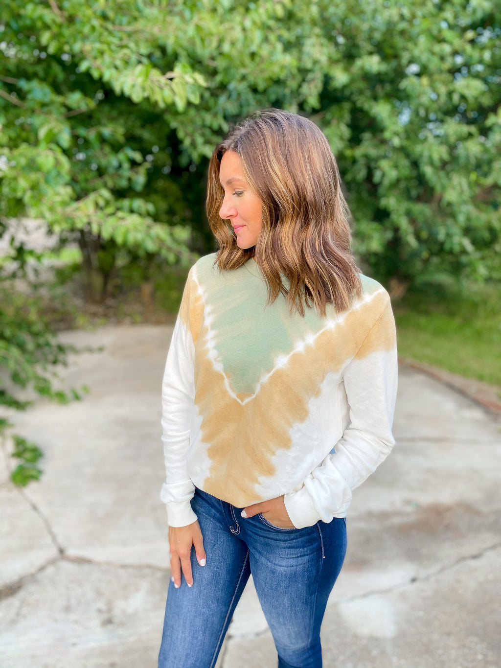 Sage + Yellow Dye Sweatshirt - FINAL SALE