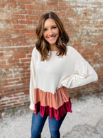 Maroon + Pink Colorblock Blouse - FINAL SALE
