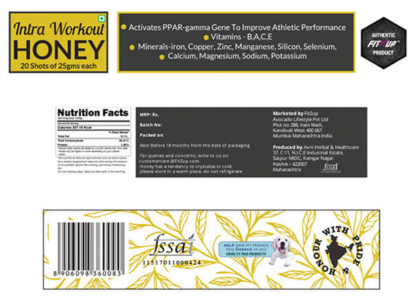 Intra workout Honey Shots - Nutritional Information
