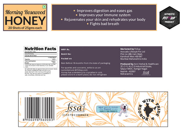 Morning Rosewood Honey Shots - Nutritional Information