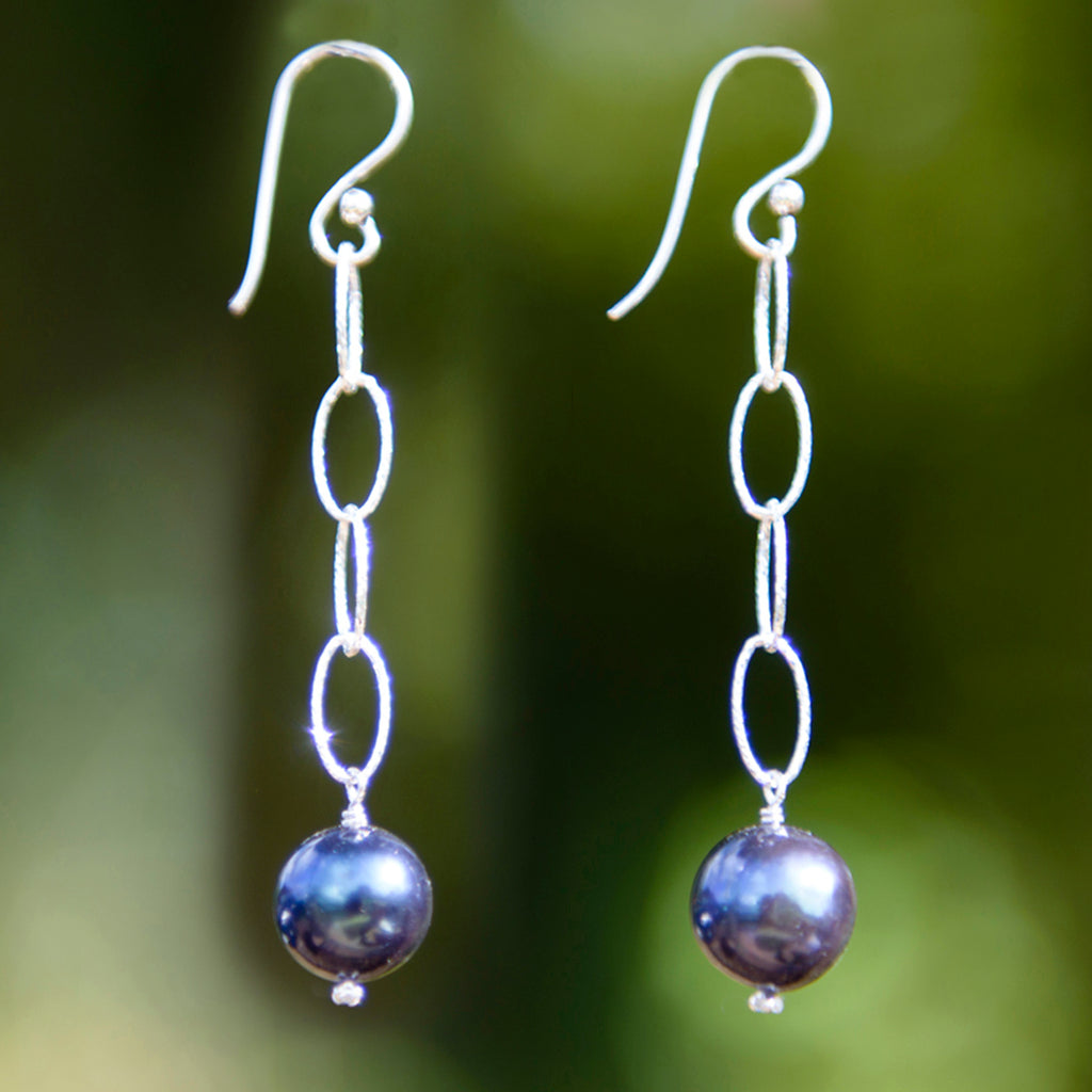 Loose Link Pearl Earrings