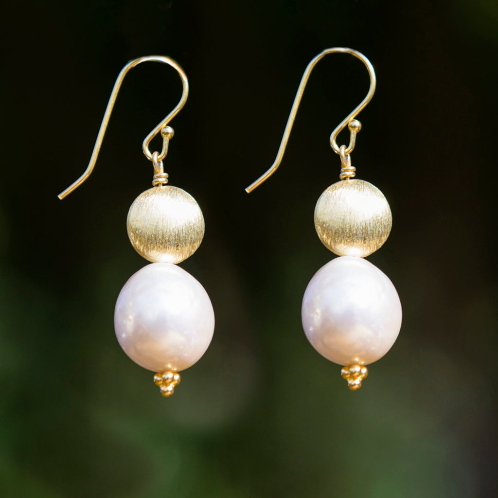 Large Pearl & Gold Earrings