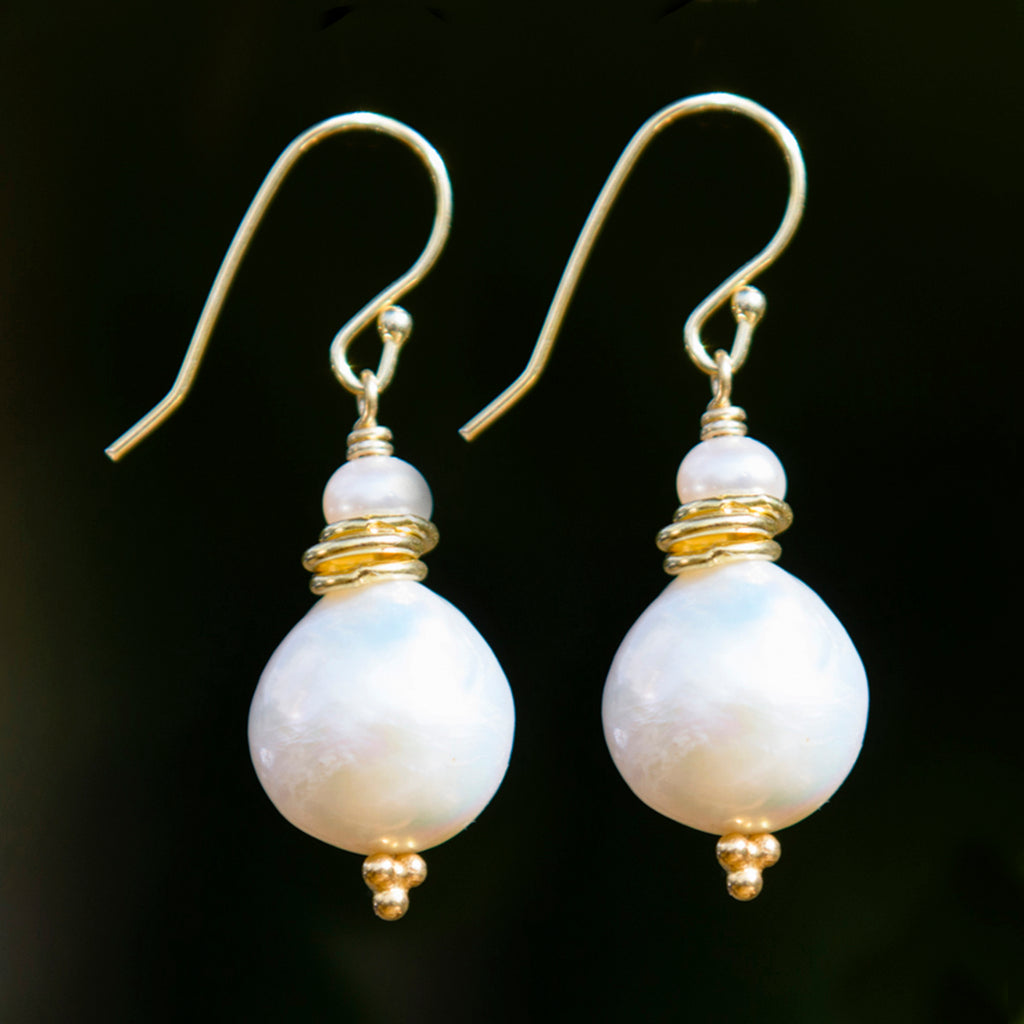 Large Pearl & Gold Link Earrings