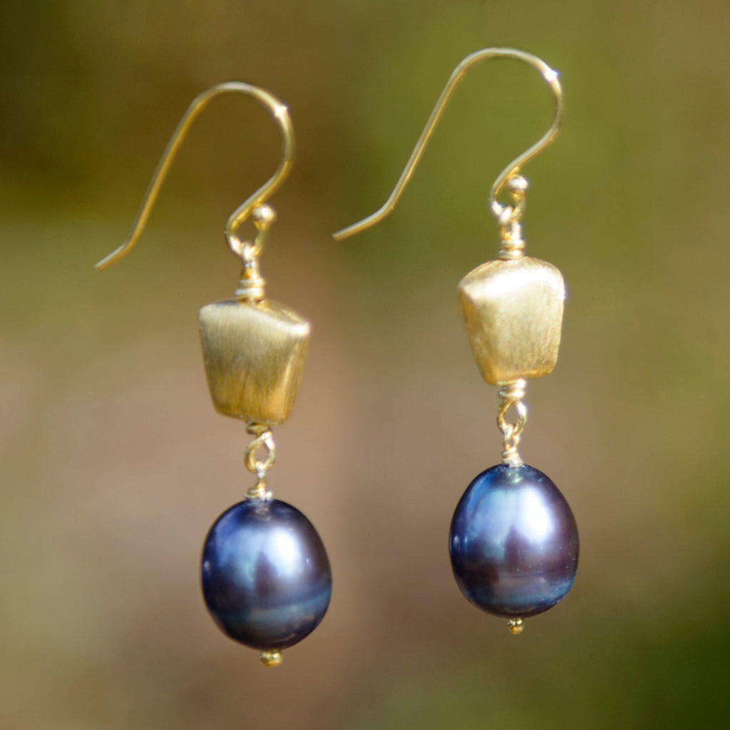 Peacock Pearl & Gold Earrings