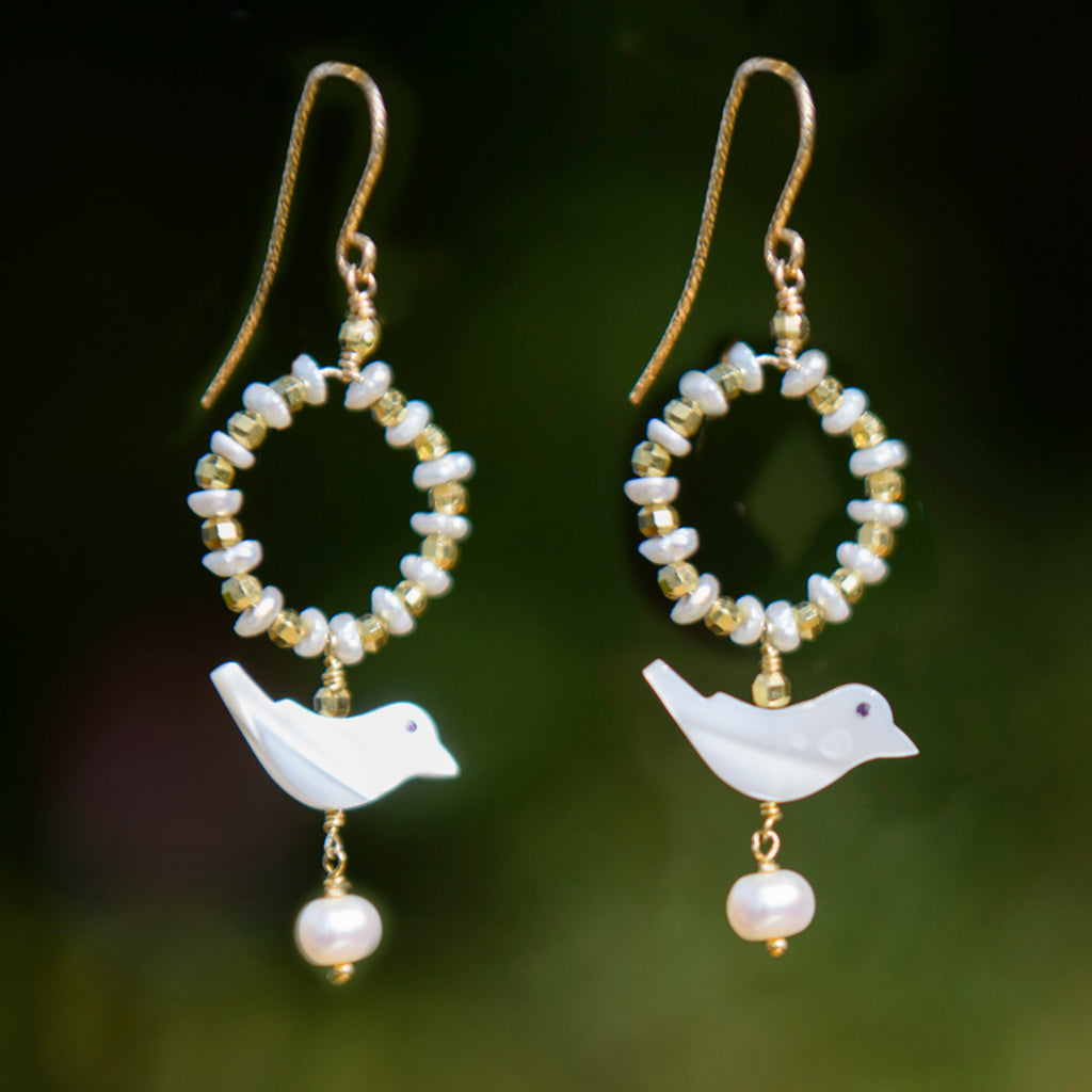Bird & Pearl Hoop Earrings