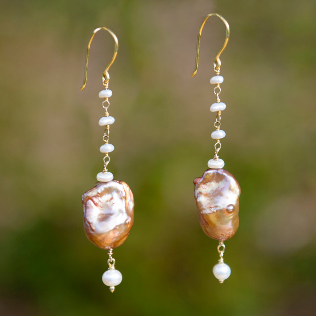 Champagne Baroque Pearl Earrings